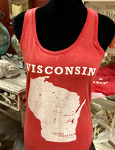 Load image into Gallery viewer, Small Town Wisconsin Tank Top Red racer back
