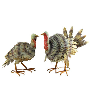 Large Metal Turkey and Hen Statue Set
