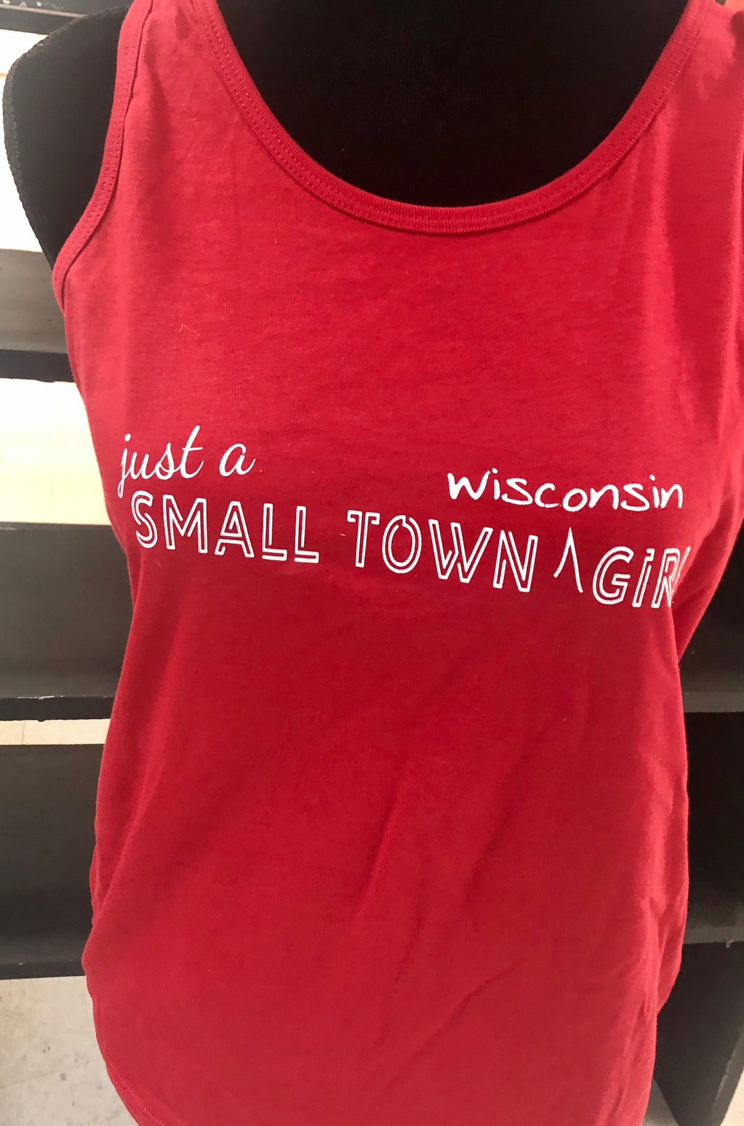 Just a Small Town Girl...Wisconsin Tank Top Red racer back