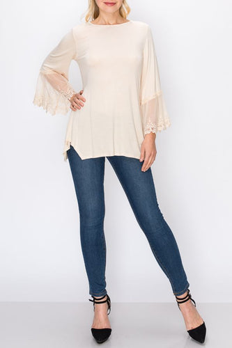 Tunic Top - Beige 3/4 Sleeve shirt