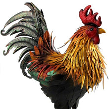 Load image into Gallery viewer, Large Metal Rooster with gold chest feathers