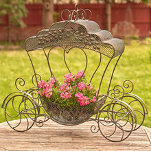Load image into Gallery viewer, Cinderella Carriage | Luciana | Available in white or antique bronze | Wedding | Planter | Metal