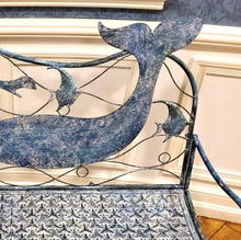 Load image into Gallery viewer, Metal Mermaid Bench | Nautical Bench | Mermaid designed bench | Free Shipping | Blue Vintage Look | Full Size | Coastal Iron Bench
