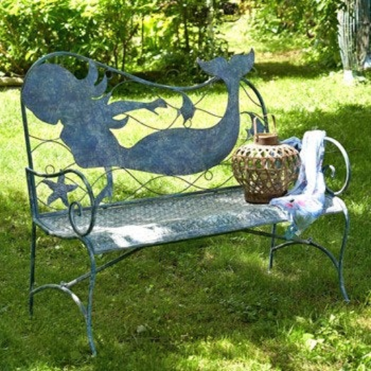 Metal Mermaid Bench | Nautical Bench | Mermaid designed bench | Free Shipping | Blue Vintage Look | Full Size | Coastal Iron Bench
