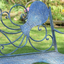 Load image into Gallery viewer, Metal Octopus Bench | Nautical Bench | Octopus designed bench | Free Shipping | Blue Vintage Look | Full Size | Coastal Iron Bench