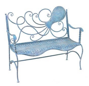 Metal Octopus Bench | Nautical Bench | Octopus designed bench | Free Shipping | Blue Vintage Look | Full Size | Coastal Iron Bench