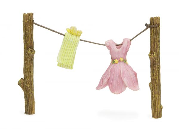 Clothes line with dress and scarf hanging out to dry | Miniature NEW 2020