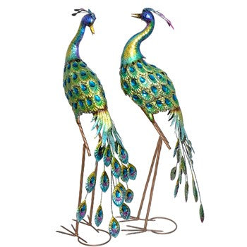 Large Metal Peacocks - Set of 2 | Brilliant color with acrylic gems 3.5' tall