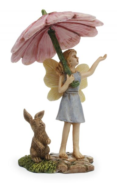 Fairy with Umbrella and Bunny | Rainy Day | Pink | MG99