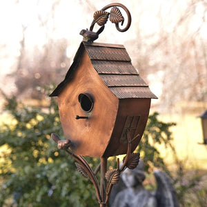 "Copper Vintage house on stake Bird House - Sheila - Yard Art - 70"" tall"