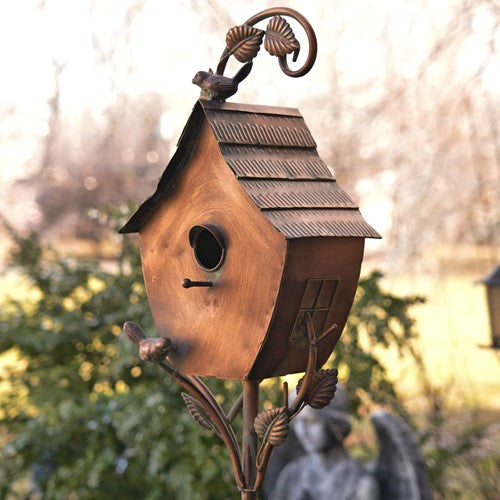 Copper Vintage house on stake Bird House - Sheila - Yard Art - 70
