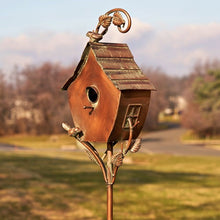 "Load image into Gallery viewer, Copper Vintage house on stake Bird House - Sheila - Yard Art - 70"" tall"