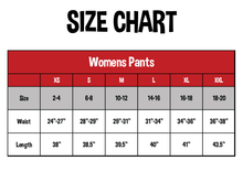 Load image into Gallery viewer, SIZE CHART FOR WOMEN'S PANTS. SIZE, WEIGHT, LENGTH DOWN THE LEFT SIDE | SIZES XS, S, M, L, XL, XXL ACROSS THE TOP WITH NUMBERS MATCHING UP WITHIN THE CHART.