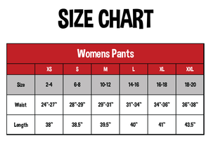 SIZE CHART FOR WOMEN'S PANTS. SIZE, WEIGHT, LENGTH DOWN THE LEFT SIDE | SIZES XS, S, M, L, XL, XXL ACROSS THE TOP WITH NUMBERS MATCHING UP WITHIN THE CHART.