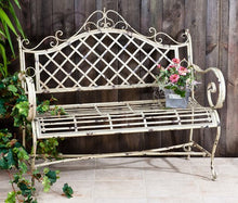 Load image into Gallery viewer, Elegant Metal Bench | Vintage Feel Bench | Garden bench | Free Shipping | Antique Green Vintage Look | Full Size | Iron Bench | Antique White