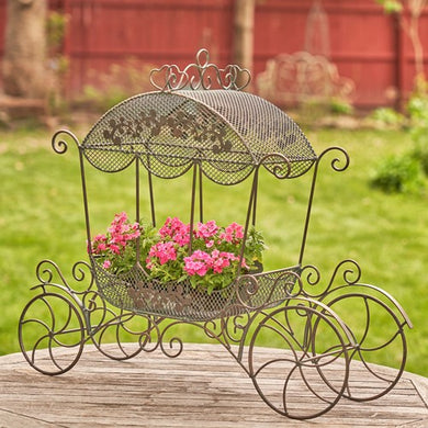 Cinderella Carriage | Stephanie | Available in white or antique bronze | Wedding | Planter | Metal