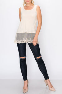 Ivory Lace trim Tank top Origami | Tunic | S-2XL