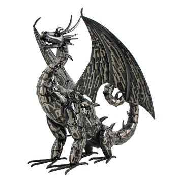 2' metal filagree dragon | 2' tall 2' wide | Vaktang | powder-coated steel dragon indoor/outdoor 3 piece