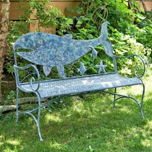 Metal Whale Bench | Nautical Bench | Whale designed bench | Free Shipping | Blue Vintage Look | Full Size | Coastal Iron Bench