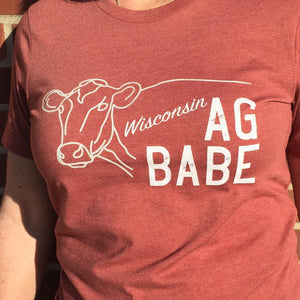 AG Babe..Wisconsin | T-Shirt Red | Farming | agriculture | Short Sleeve