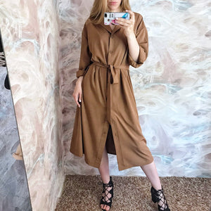 Batwing sleeve solid shirt dress - findurtrend