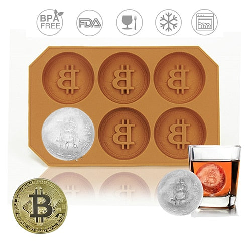 6 Grids Bitcoin Design Silicone Ice Cube Mold - Cookie Mold - findurtrend