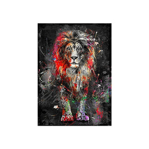 Abstract Lion Canvas Painting - findurtrend