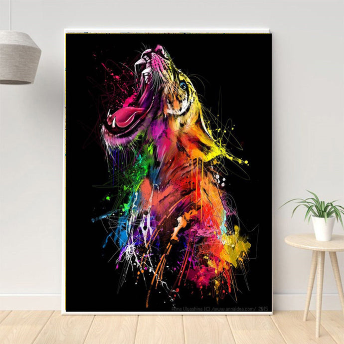 Colorful Tiger Graffiti Art Canvas Painting - findurtrend