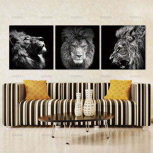 FREE 3 Panels Roaring Lion Wall Art Canvas - findurtrend