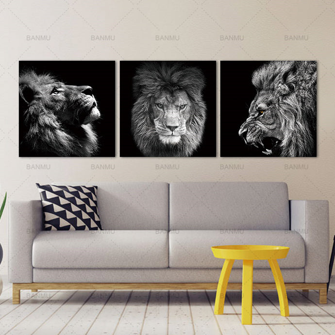 3 Panels Roaring Lion Wall Art Canvas - findurtrend