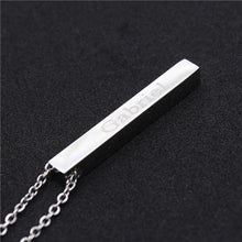Load image into Gallery viewer, Four Sides Engraving Personalized Square Bar Necklace - findurtrend