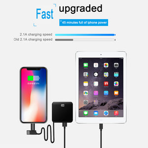 Mini Power Bank 8000mah Thin Mirror Screen 2.1A Fast Charging 3 in 1 Built-in Line Wireless Charger - findurtrend