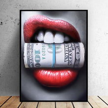 Load image into Gallery viewer, Modern Canvas Painting - Sexy Red Lips Bite Bullet and Money - findurtrend