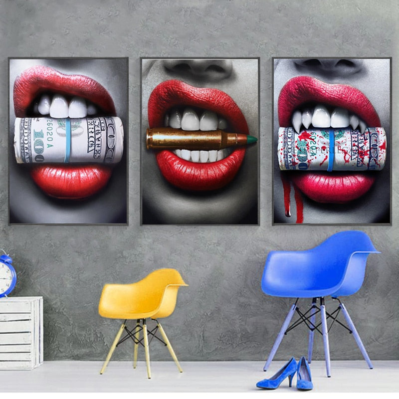 Modern Canvas Painting - Sexy Red Lips Bite Bullet and Money - findurtrend