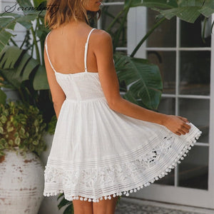 Lace White Hollow Out Dress - findurtrend