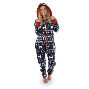 Women Long Sleeve Ladies 3D Christmas Elk Printed Jumpsuit Pyjamas Nightwear - findurtrend