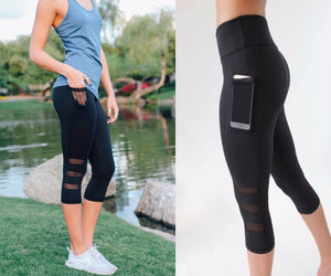 High waist Elastic women Mesh Legging pants - Fitness sporting Capri Pants with pocket Cropped trousers legging - findurtrend