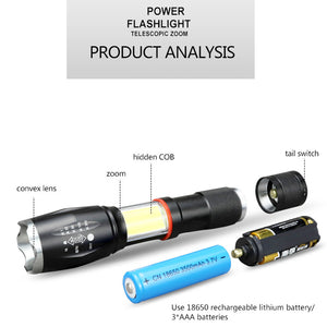Tactical Military LED Flashlight Torch - Zoomable - findurtrend