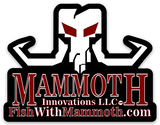 logo decal sticker from Mammoth Innovations fishing white on black front view