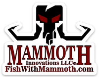 logo decal sticker from Mammoth Innovations fishing black on white front view