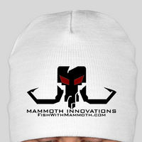 BLACKOUT beanie toque hat from Mammoth Innovations fishing white front view
