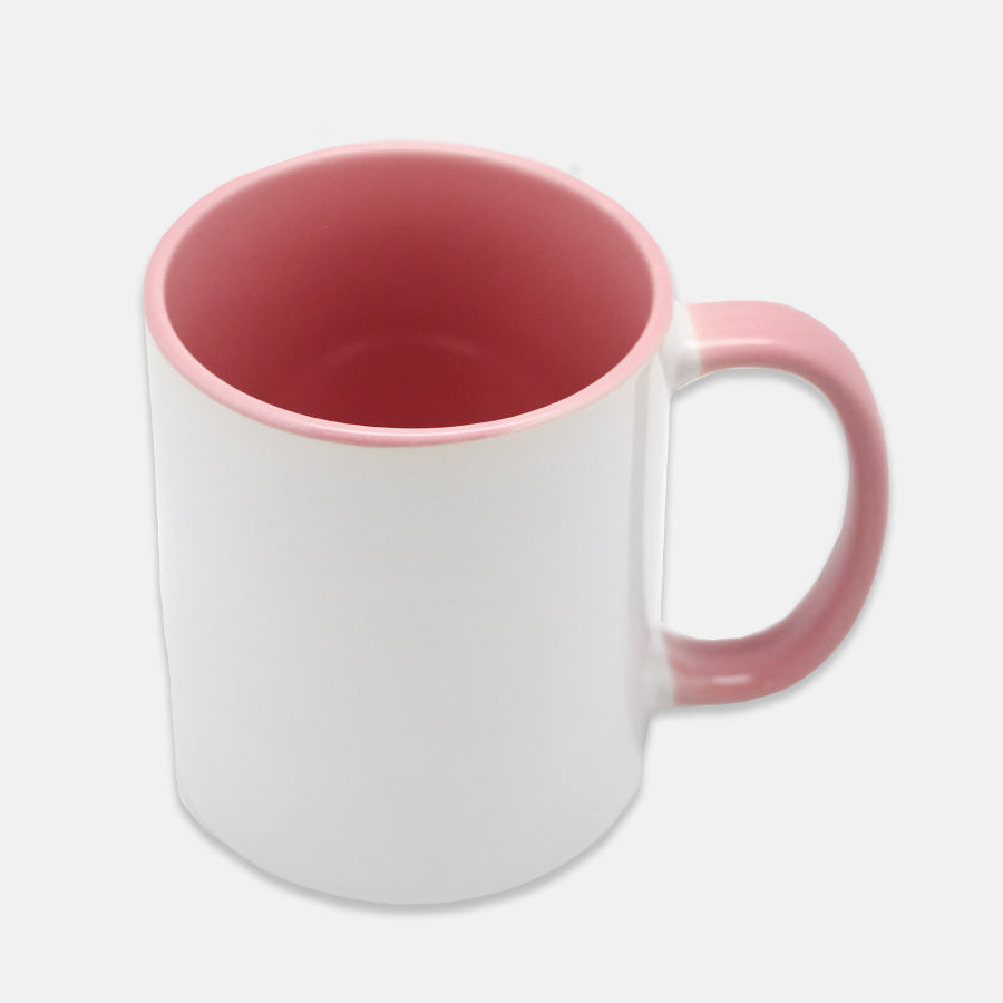 drop ship pink and white mug