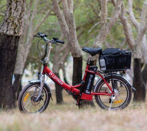 Folding Electric Bike Leitner Libelle Red in Park