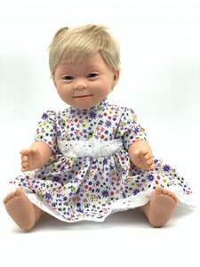 Doll with Down syndrome features 40cm short hair girl -blonde
