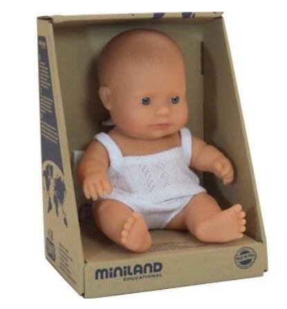 Miniland Doll - Caucasian Baby 21cm (pre-order for June re-stock)