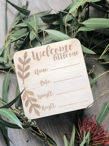 Birth Announcement Plaque | Boho 'Welcome Litte One'