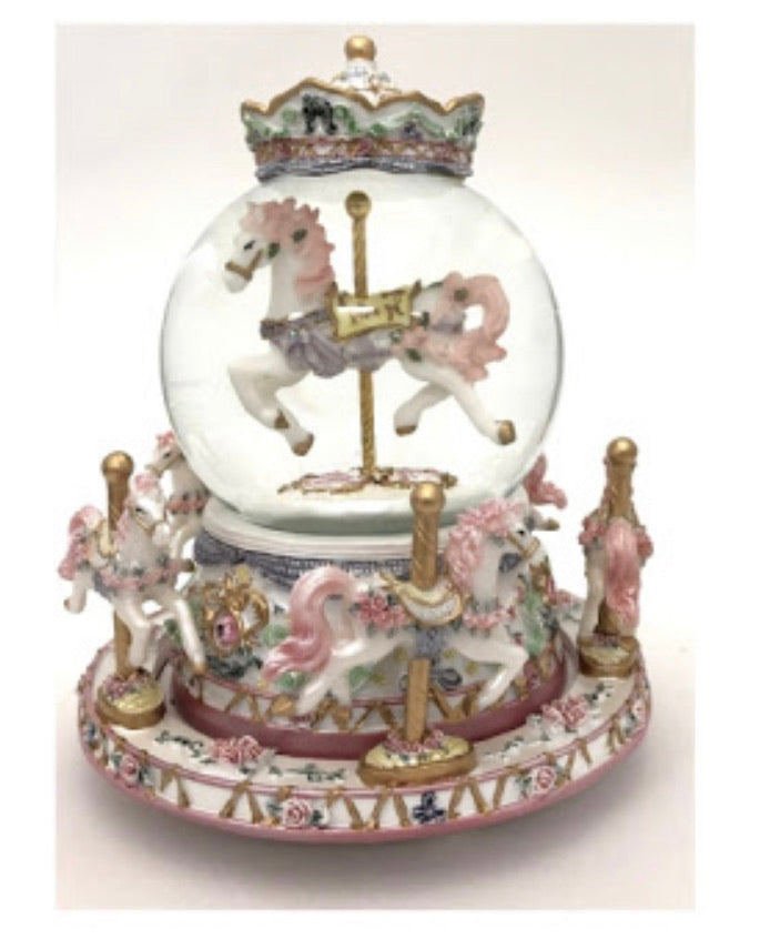 Dual-Spinning Horse Carousel & Snowglobe