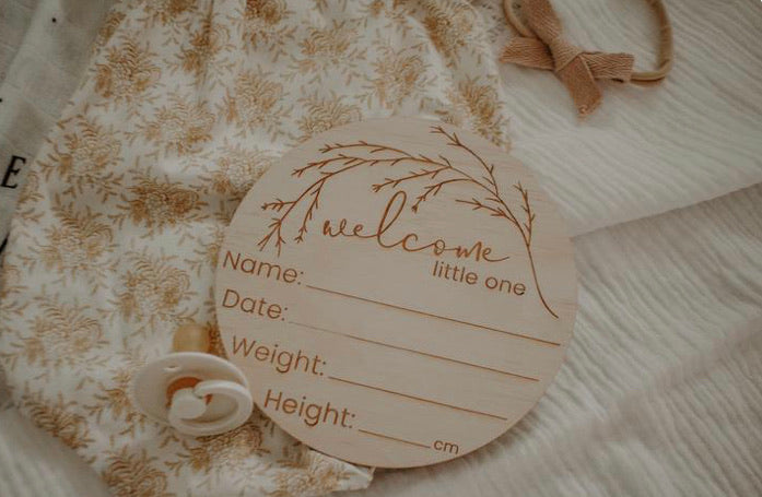 Birth Announcement Plaque - Whimsical