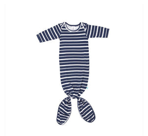 Knotted Gown - Navy Stripe