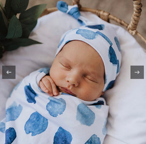 Snuggle Swaddle + Beanie Set - Ocean Skies
